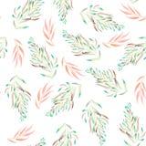 Teste padrão floral com as plantas do verde, as marrons e as cor-de-rosa da aquarela, algas Fotos de Stock Royalty Free