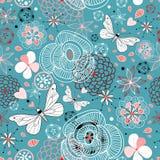 Teste padrão floral com borboletas Fotos de Stock Royalty Free