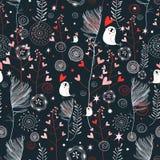 Teste padrão floral com corações Fotos de Stock Royalty Free