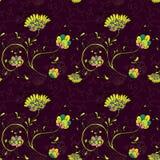 Teste padrão floral com flores decorativas Foto de Stock Royalty Free