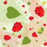 Teste padrão floral com folhas e bagas Imagens de Stock