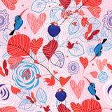 Teste padrão floral com pássaros Imagens de Stock Royalty Free