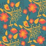 Teste padrão floral com pássaros Foto de Stock Royalty Free