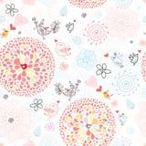 Teste padrão floral com pássaros Imagem de Stock Royalty Free