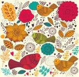 Teste padrão floral com pássaros Fotos de Stock Royalty Free