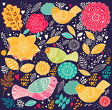 Teste padrão floral com pássaros ilustração do vetor