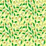 Teste padrão floral com pontos amarelos Imagem de Stock Royalty Free