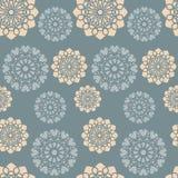 Teste padrão floral cor-de-rosa azul e alaranjado empoeirado Fotos de Stock