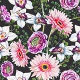 Teste padrão floral da aquarela Foto de Stock Royalty Free