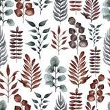 Teste padrão floral da aquarela com ramos ilustração royalty free