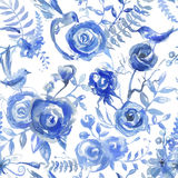 Teste padrão floral da aquarela, textura com flores e pássaros Seaml Imagem de Stock Royalty Free