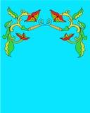 Teste padrão floral da beira em um fundo azul Foto de Stock