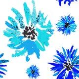 Teste padrão floral da centáurea azul sem emenda da aquarela ilustração royalty free