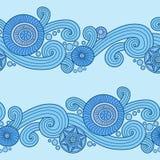 Teste padrão floral da garatuja no azul ilustração stock