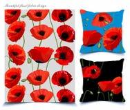 Teste padrão floral da papoila bonita em fundos diferentes Imagem de Stock