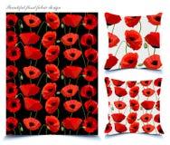 Teste padrão floral da papoila bonita para telas Fotografia de Stock Royalty Free