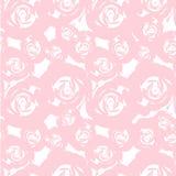 Teste padrão floral da rosa sem emenda do sumário em cores pastel cor-de-rosa no elemento branco do projeto ilustração stock