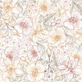 Teste padrão floral da telha Fundo da flor Textura do jardim fotos de stock
