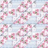 Teste padrão floral das rosas do laço sem emenda dos retalhos Imagens de Stock