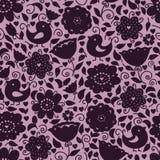 teste padrão floral das silhuetas Fotos de Stock Royalty Free