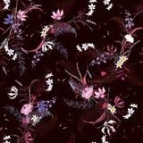Teste padrão floral de florescência nos muitos tipo das flores ilustração do vetor