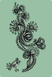 Teste padrão floral decorativo com pássaros, mão-desenho Illus do vetor Foto de Stock Royalty Free