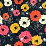 Teste padrão floral decorativo ornamentado sem emenda Cópia brilhante para seu projeto Escuro - fundo azul Fotografia de Stock