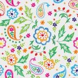 Teste padrão floral decorativo sem emenda do vetor do bordado, ornamento para a decoração de matéria têxtil Fundo feito a mão boê Fotos de Stock Royalty Free