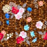 Teste padrão floral ditsy sem emenda com os ramalhetes bonitos das rosas, do cosmos e das flores de sino no fundo marrom ornament ilustração royalty free