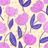 Teste padrão floral do esboço decorativo sem emenda com pontos abstratos ilustração stock