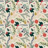 Teste padrão floral do fundo do feriado sem emenda do Natal de Tileable Imagem de Stock Royalty Free