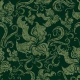 Teste padrão floral do grunge sem emenda do vintage com orquídea Imagens de Stock