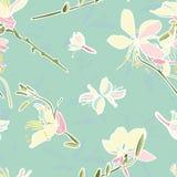Teste padrão floral do vetor de turquesa com lírio imagem de stock royalty free