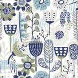 Teste padrão floral do vetor sem emenda com azuis diferentes e verdes Foto de Stock Royalty Free
