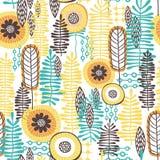 Teste padrão floral do vetor sem emenda com máscaras amarelas & azuis Fotografia de Stock