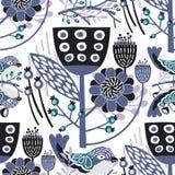 Teste padrão floral do vetor sem emenda com máscaras roxas & pretas das cores Foto de Stock