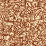 Teste padrão floral do vintage com flores do doodle Fotografia de Stock
