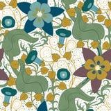 Teste padrão floral do vintage sem emenda do vetor Flores em um fundo branco Fotos de Stock Royalty Free