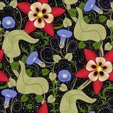 Teste padrão floral do vintage sem emenda do vetor Flores em um fundo preto Imagem de Stock