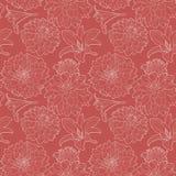 Teste padrão floral do vintage vermelho sem emenda com lírio e áster Fotografia de Stock Royalty Free