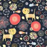 Teste padrão floral dos gatos e dos peixes Foto de Stock Royalty Free