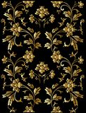 Teste padrão floral dourado ilustração do vetor