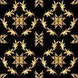 Teste padrão floral dourado no preto ilustração stock