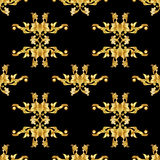 Teste padrão floral dourado no preto ilustração do vetor