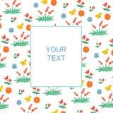 Teste padrão floral e da baga com uma bandeira para o texto ilustração stock