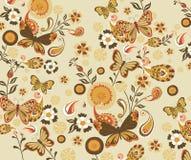 Teste padrão floral e de borboleta Fotos de Stock Royalty Free