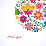 Teste padrão floral em um motriz étnico mexicano do círculo Fotos de Stock Royalty Free