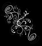 Teste padrão floral espiral da silhueta ilustração do vetor
