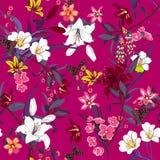 Teste padrão floral fresco do verão bonito nos muitos tipo da flor ilustração do vetor