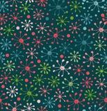 Teste padrão floral Fundo abstrato decorativo Textura da garatuja Campo Teste padrão floral infinito Fotografia de Stock